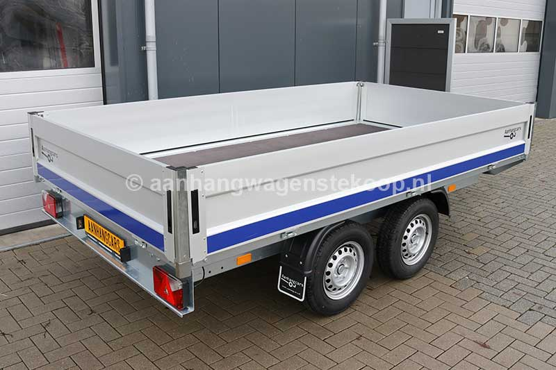 Tandemas plateauwagen met aluminium borden