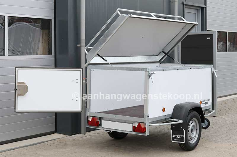 Bagagewagen met geopend deksel en optionele achterdeur
