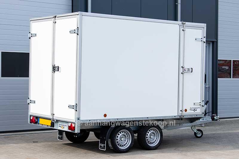 Power Trailer tandemas gesloten plateau aanhangwagen met extra zijdeur