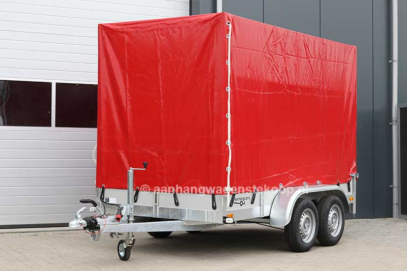 Twins Trailers tandemas aanhangwagen met rode huif